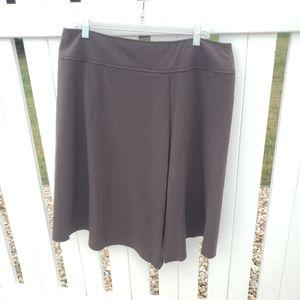 🌻 Dressbarn Solid Brown Midi Skirt Plus Size 16